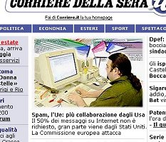 Frammento dell'home page di Corriere.it alle 7 del 17/7